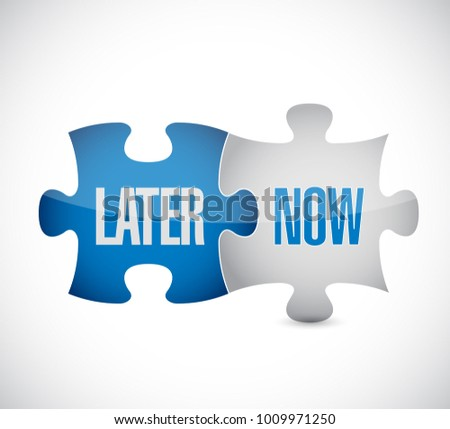 later and now puzzle concept illustration design isolated over white