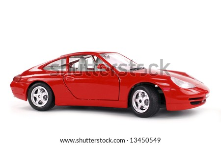 Lateral view of a great car isolated on white.