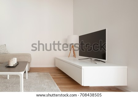 Lateral view of modern minimal living. Nobody inside #708438505