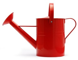 lateral view of red watering can