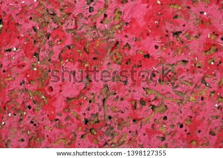 Laterite laterite painted in powdered red Background, excavation work, stone objects, antique objects