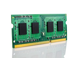 Latest-generation 16 GB RAM module for desktop computer, high throughput, random access memory, isolated on a white background