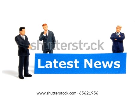 latest news concept with small business man isolated on white background