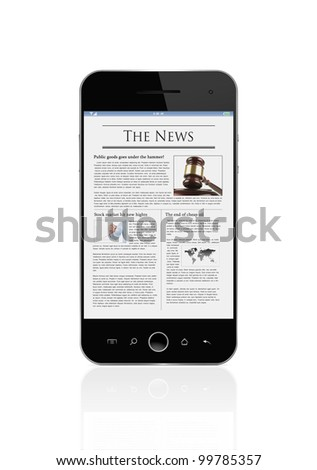 Latest news on mobile smart phone isolated on white background with clipping path for the screen