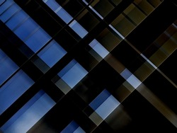 Lath structure of roof. Close-up photo of minimalist architecture of modern building. Grid construction of ceiling. Abstract geometric background with parallel lines for estate, industry or technology
