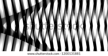 Lath structure of wall, roof or ceiling. Reworked close-up photo of modern architecture / interior fragment with shadows. Abstract black and white striped background in chiaroscuro technique.