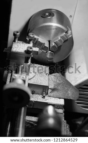 Lathe for metal work, black and white. #1212864529