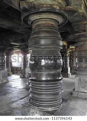 Lathe turned pillars of the mantapa near Venugopala shrine of the Veera Narayana temple, Belavadi village, Chikkamagaluru district of Karnataka state, India. It was built in 1200 C.E.