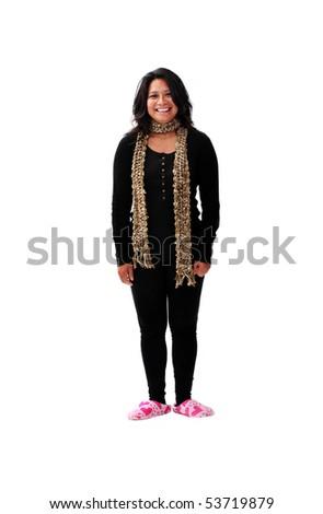 latin american girl in pink slippers