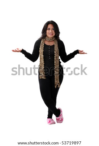 latin american girl in pink slippers with raised arms