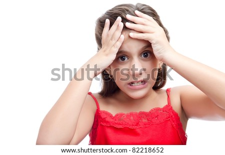 Latin girl with an angry and desperate look isolated on a white background