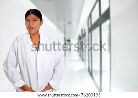 Latin hispanic young doctor woman hospital corridor [Photo Illustration]