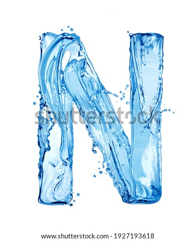Latin letter N made of water splashes, isolated on a white background Foto stock ©