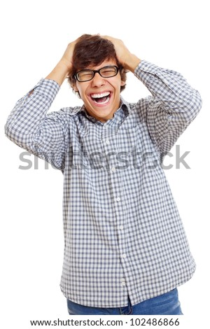 Latin student in black glasses laughing with hands over his head. Isolated on white background, mask included