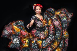 Latin woman dressed as Chiapas with a costume embroidered with flowers, a bow braid and a shawl, Mexican dancer, multicolored traditional folklore