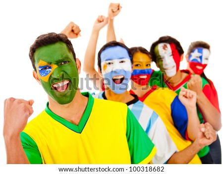 Latinamerican team with arms up - isolated over a white background - stock photo