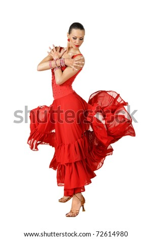 Latino dancer in action. isolated on white