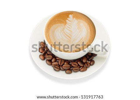 Latte art and coffee beans, isolate on white