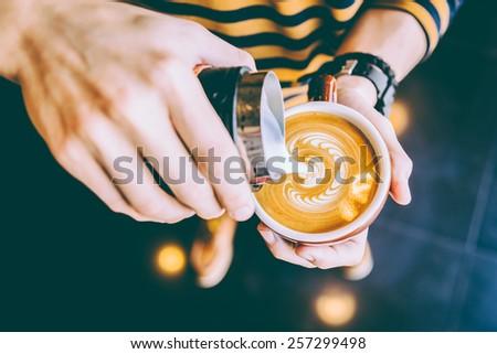 Latte art coffee cup - vintage effect