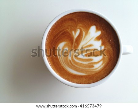 Latte art coffee isolated on white background  #416573479