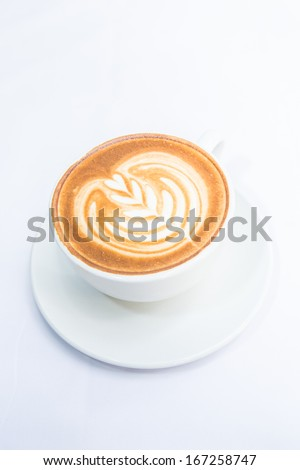Latte Art isolate on white, A cup of cappuccino coffee #167258747