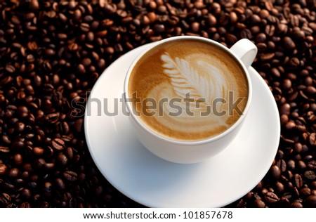 latte art ,leaf shape