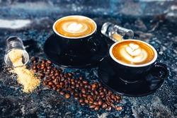Latte art on espresso coffee. Black coffee served in bar