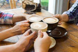 Latte coffee art and people meeting friendship togetherness coffee shop concept