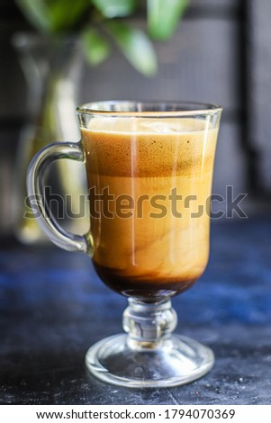 latte coffee cappuccino dalgona in transparent glass sweet hot drink cocoa milk organic eating healthy top view place for text copy space