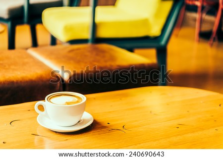 Latte Coffee cup in coffee shop - Vintage Retro effect style pictures