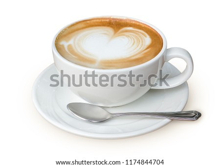Latte coffee in white coffee cup with plate and spoon on white background with clipping path #1174844704