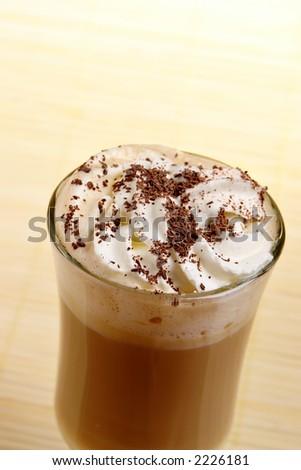 latte coffee with white chocolate and irish cream