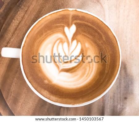 Latte, latte art, coffee, wood, cup, drink #1450103567