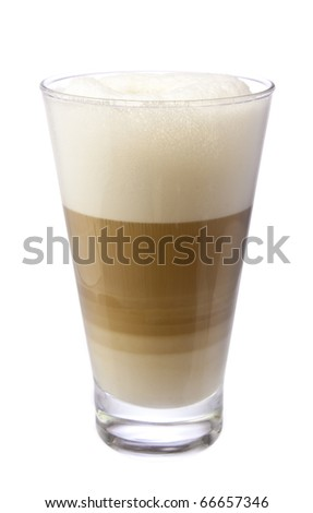 Latte Macchiato coffee in a glass isolated on white