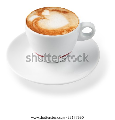 latte with a pattern in the shape of hearts. isolated on white