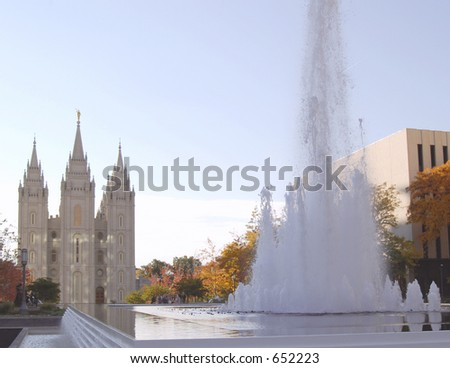 Latter-Day Saints Temple and Fountain