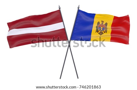 Latvia and Moldova, two crossed flags isolated on white background. 3d image