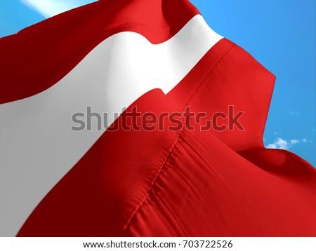 Latvian flag. 3D Waving flag design. Red and white flag.The national symbol of Latvia. Latvian National colors. National flag of Latvian for background. Latvian sign on texture. 3d flags waving Latvia