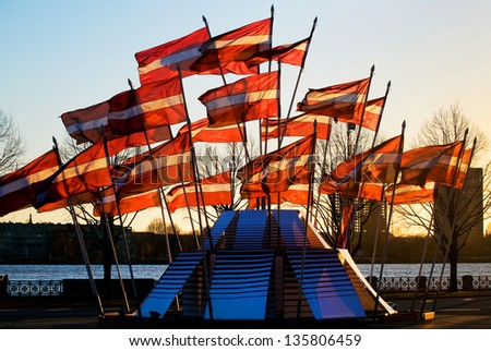 Latvian flags near the river Daugava