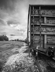 Latvian train wagon station. rail freight cars on rails