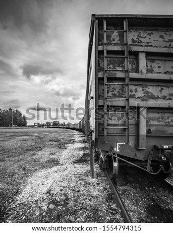 Latvian train wagon station. rail freight cars on rails ストックフォト ©
