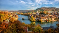 Laufenburg Old town on Rhine river is a popular day trip destination around Basel, Switzerland, on the swiss german border
