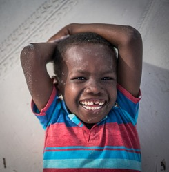 Laughing African little boy