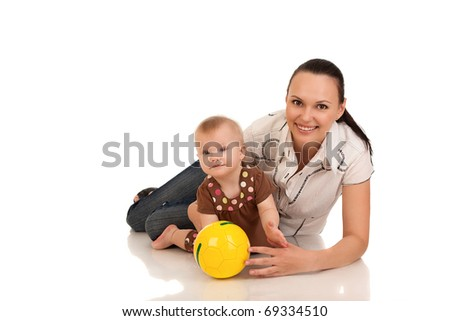 laughing baby playing with mother, isolated over white