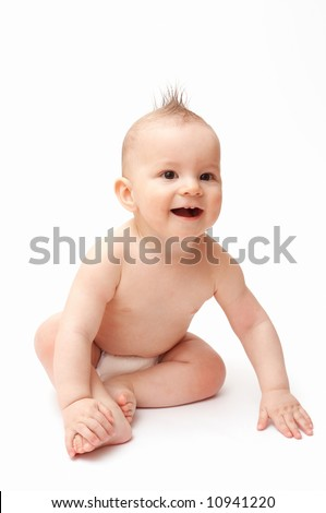 laughing baby with spiky hair - stock photo