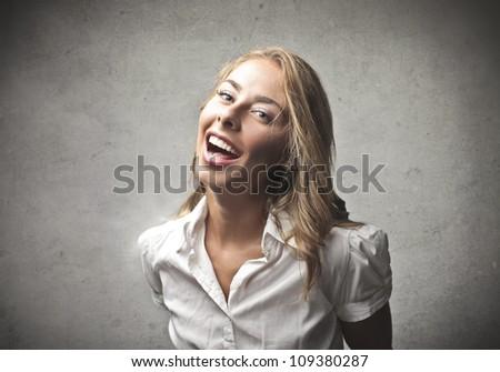 Laughing beautiful young woman