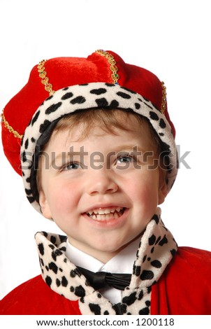 laughing boy in costume