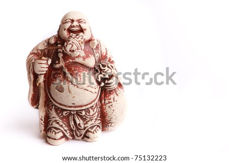 LAUGHING BUDDHA STATUE ON WHITE BACKGROUND