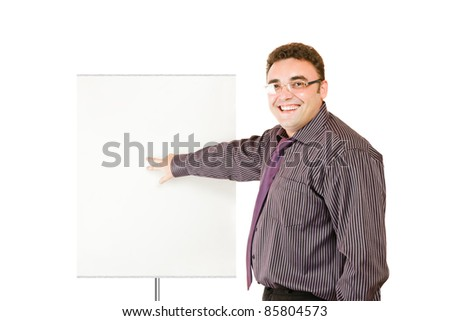 Laughing businessman showing whiteboard isolated over white background