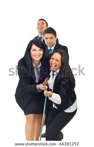 Laughing four team of business people playing tug of war isolated on white background